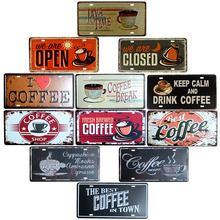 Decoração do café placas de parede metal placa sinal café vintage bar decoração pub club decoração para casa decorativa 15x30cm