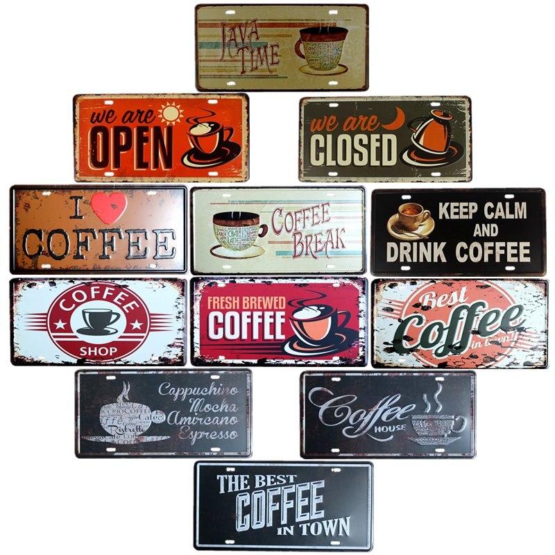 Cafe Decoration Metal Wall Plates Coffee Sign Plaque Vintage Bar Decoration Pub Club Decorative Home Decor 15x30cm