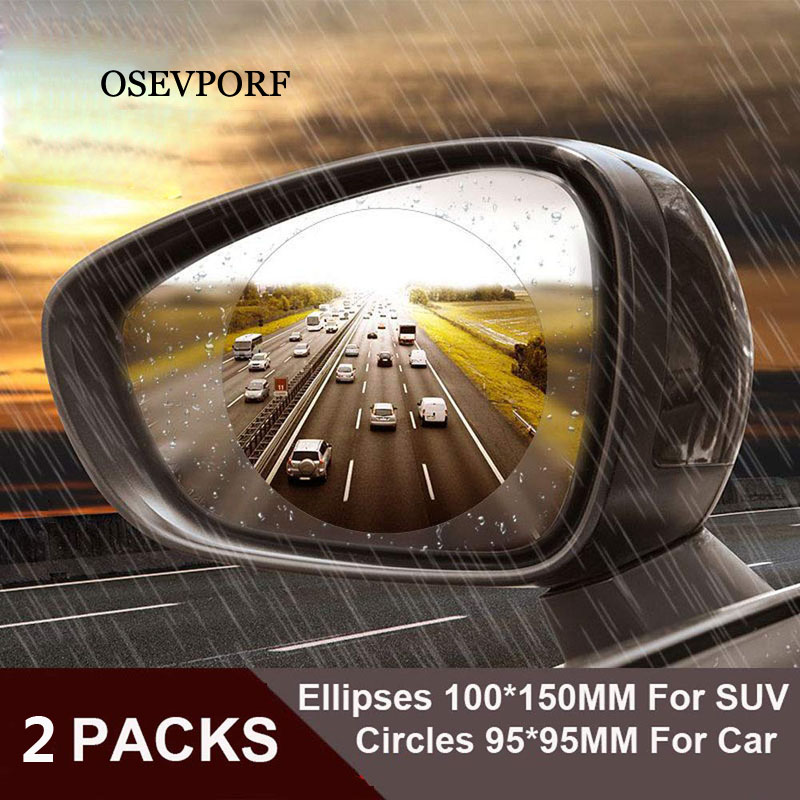 2PCS Car Mirror Window Clear Film Anti Dazzle Rearview Mirror Protective Film Waterproof Rainproof Anti Fog Car Sticker Holder
