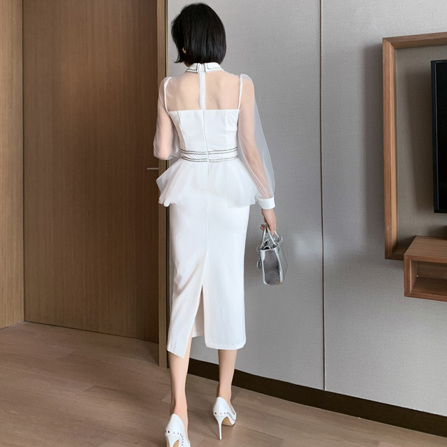 2021 New Women's Sexy Mesh Stitching Bag Arm Slim Temperament Small Dress High Waist Lantern Sleeves 6