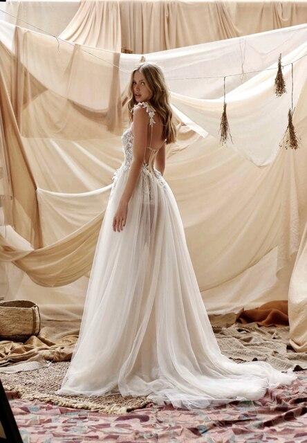 Verngo Beach Wedding Dress 2020 Sexy Spaghetti Straps Lace Applique Wedding Gowns High Side Slit Bride Dress Vestido de noiva 3