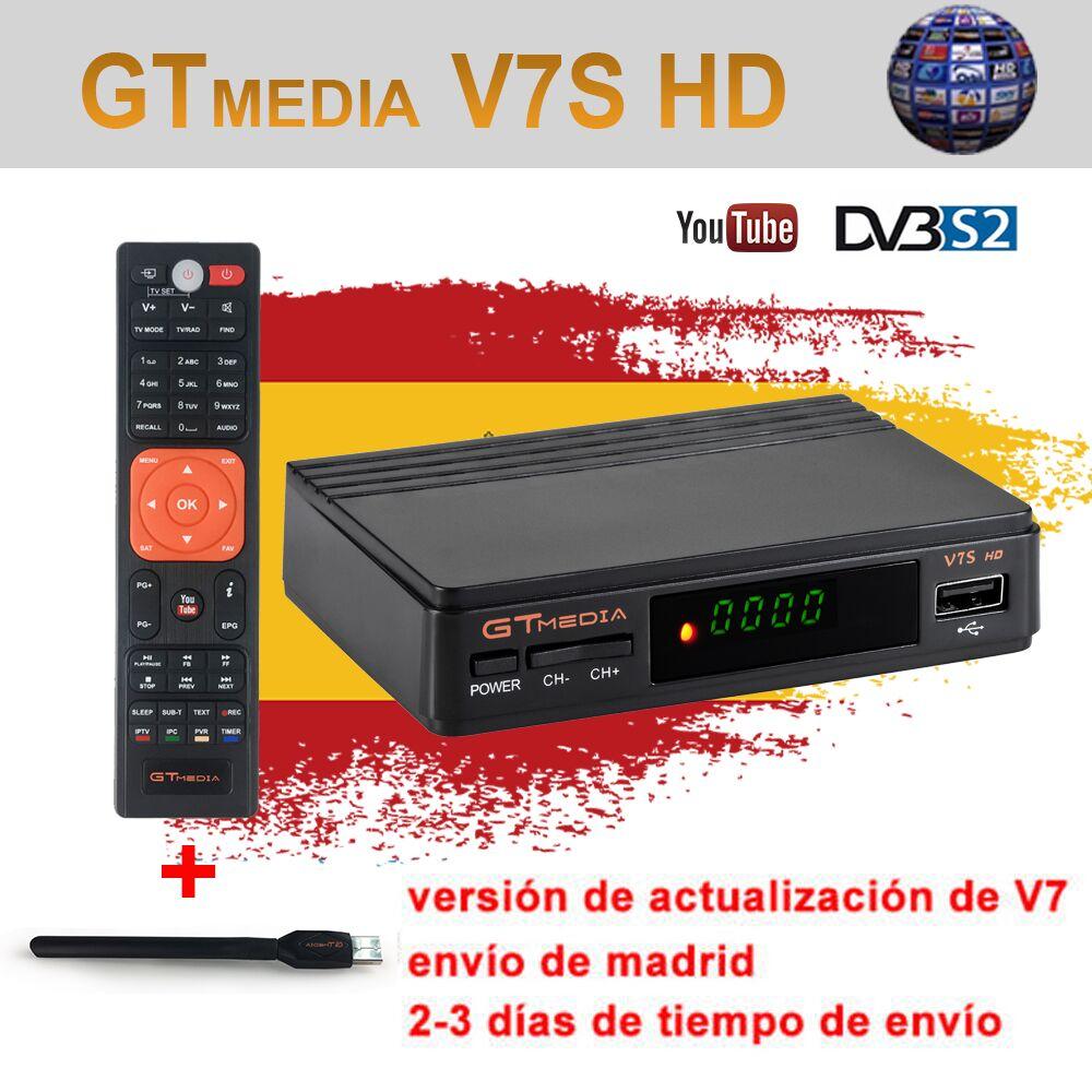 GTMEDIA V7S HD 1080P com WIFI USB FTA Receptor DVB-S2 1 Ano Cccam Cline para 1 Ano CONJUNTO TV v7 caixa como Freesat hd v8 nova YouTube