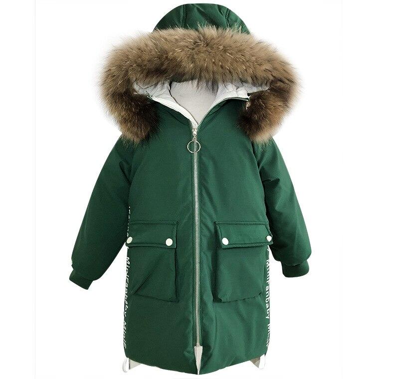 -30 degrés filles doudoune enfants épais naturel col de fourrure blanc canard vers le bas hiver manteau grands enfants à capuche chaud adolescent vêtements - 5