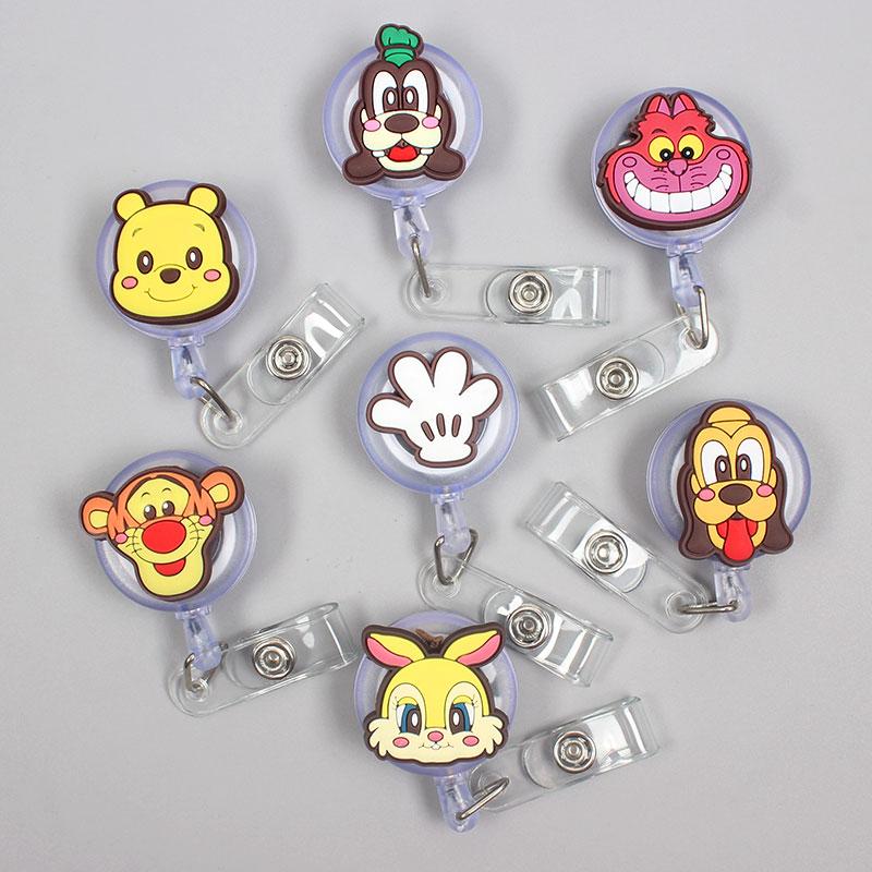 Cartoon Funny Bear Clown Retractable Creative Dog Card Holder Badge Reel Nurse Exhibition Enfermera Girl Name Card Chest Captain