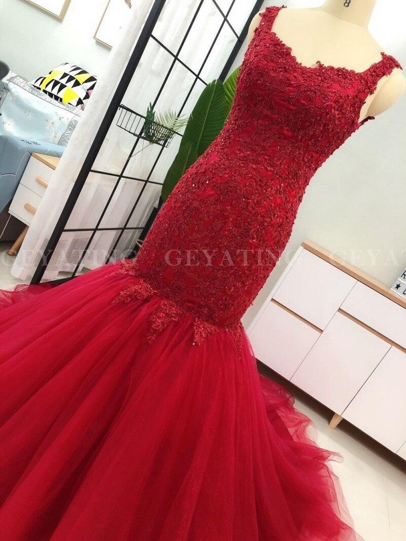 Robe de mariée sirène Tulle rouge vin 2020 dentelle Appliques perlée Court Train robes de mariée Sexy col en V dos nu robes de mariée - 4