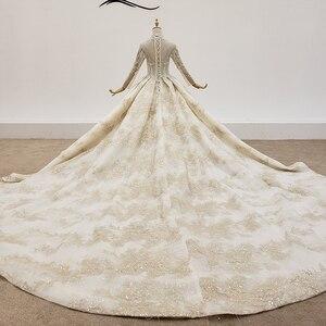 Image 2 - HTL1403 Hochzeit Kleid Ganze Mit Luxus Gold Applique Braut Kleid Langarm Hochzeit Kleid Spitze Up свадебное платье короткое