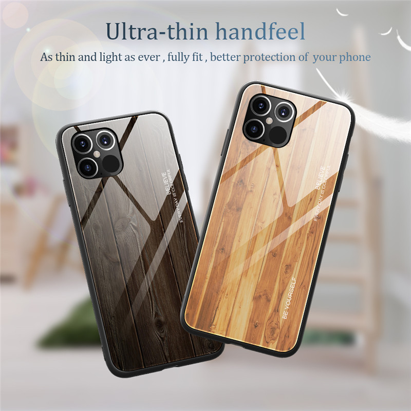 New Luxury Liquid Silicone Wood Grain Wooden Case For iPhone 12 Pro Max
