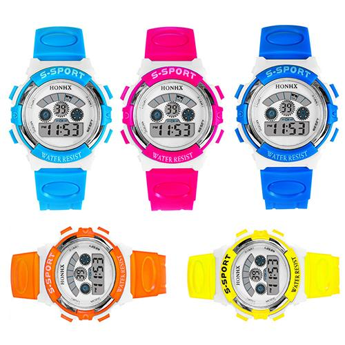 Kids Children Digital Watch Rubber Sport Multi-functional Date Alarm Wrist Watch