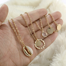 Bohemian Multilayer Vintage Gold Color Circle Cowrie Shell Choker Necklace For Women Chain Sequin Coin Pendant Necklace Jewelry(China)