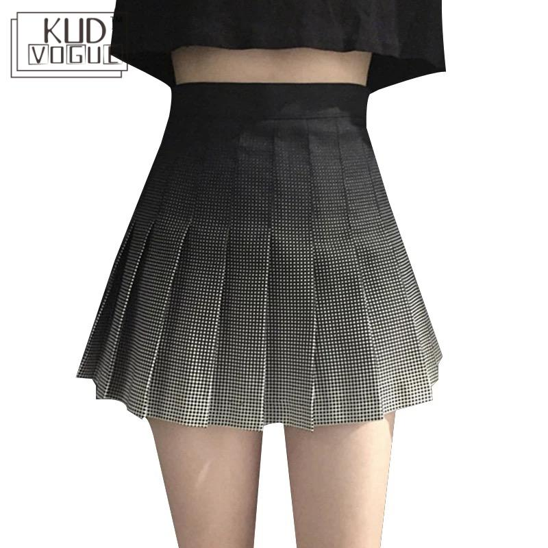 Mini Pleated Skirt Korean Harajuku Retro High Waist A-line Women Skirt Summer Sexy Short Hip Package Gradient Color Plaid Skirts