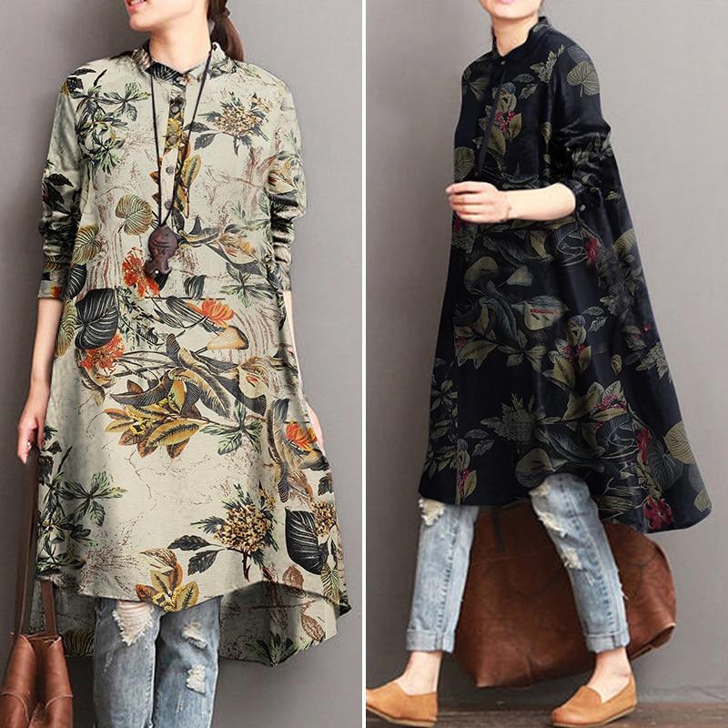 2021 ZANZEA Autumn Women's Floral Blouses Elegant Shirt Vestidos Casual Long Sleeve Long Tops Female Printed Tunic Plus Size 5XL