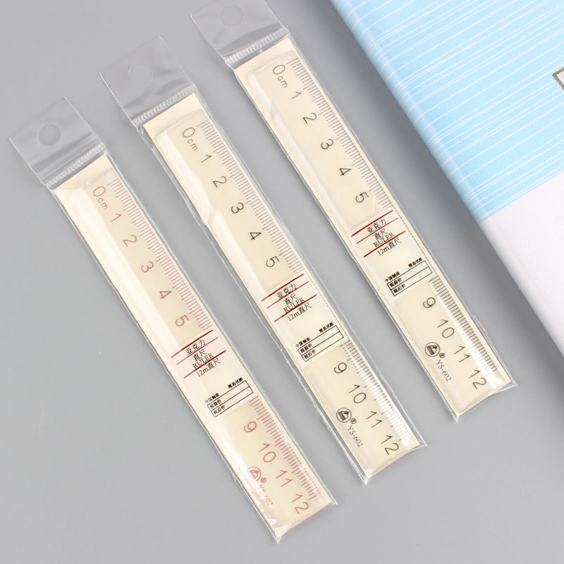 Creative Acrylic Ruler Simple MUJI-style Transparent Ruler Arch Ruler Plastic Ruler Students Mapping Ruler