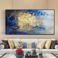Золотая линия, Картина на холсте, Синяя абстрактная настенная художественная картина для гостиной, домашний декор, оригинальная акриловая ...