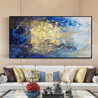 Gold line abstract canvas painting blue wall art pictures for living room home decor original acrylic texture quadro caudro