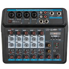 M-6 Tragbare Mini Mixer o DJ Konsole mit Soundkarte, USB, 48V Phantom Power für PC Aufnahme Singen Webcast Party (Us-stecker)(China)