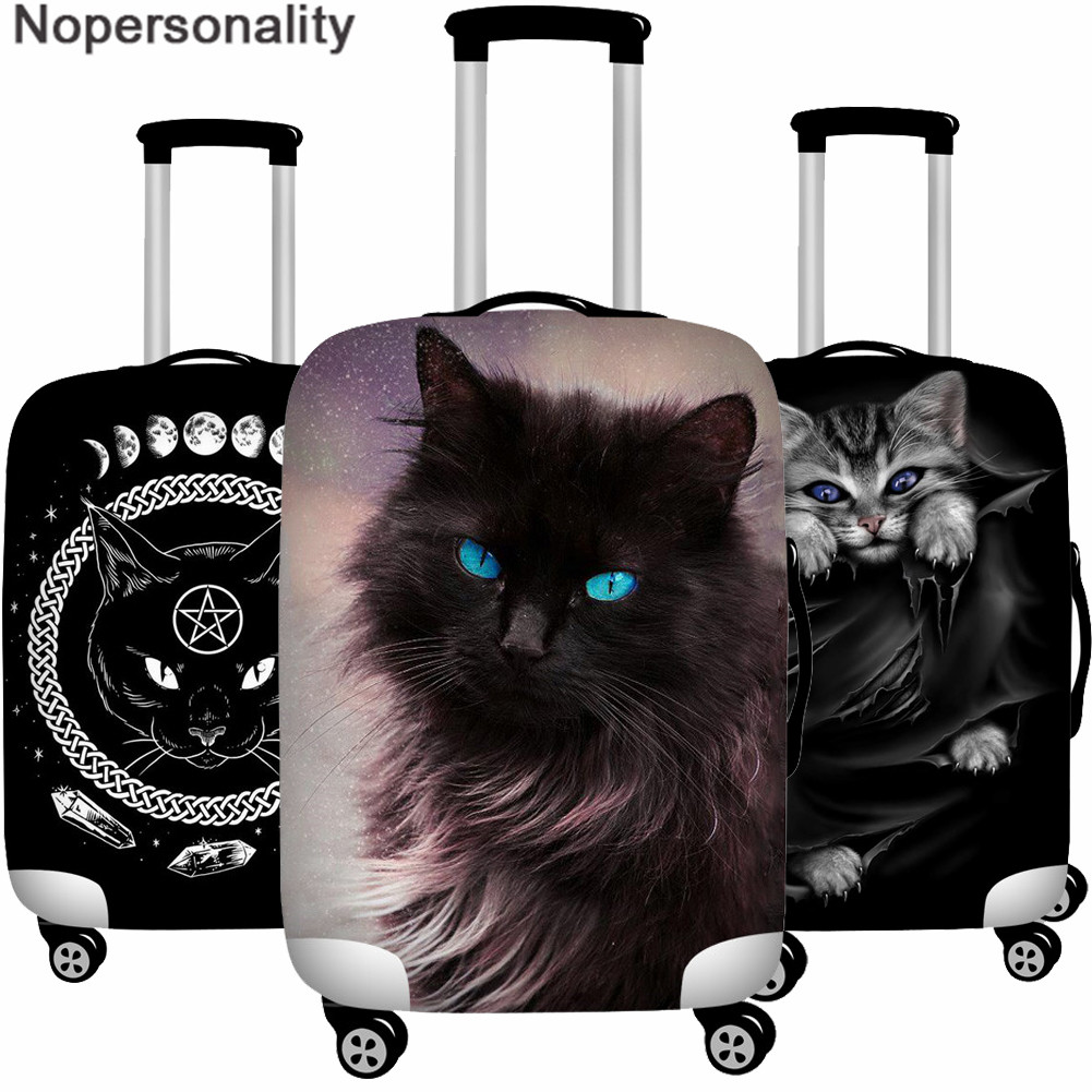 Nopersonality Men's Travel Luggage Cover Gothic Black Cat Print Trolley Suitcase Protect Dust Cover Women Travel Accessories