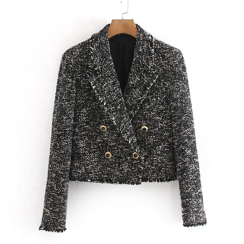 Female Ladies Double Breasted Short Blazers Button Women Notched Casual  Jackets Women Slim Long Sleeve Elegant Suits