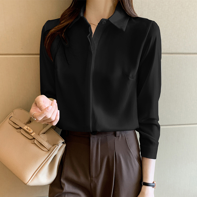 QoerliN Elegant Satin Blouse Autumn Spring Turn-Down Collar Single-Breasted Long Sleeve Female Chiffon Shirt Ladies Blouse Plus 12