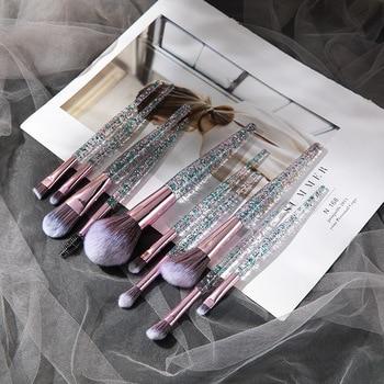 Women's Fashion 10PCS Crystal Handle Quicksand Liquid Makeup Brush Set for Foundation Concealer Eyeshadow Eyebrow Blending Kit 1