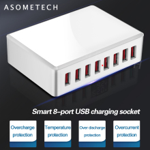 8 Ports USB Charger 40W Portable USB Desktop Smart Charging Station for Tablet Phone Multi USB Device Travel Power Adapter