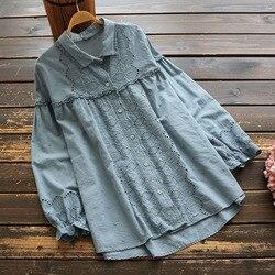 Осень 6725, Женская однотонная кружевная рубашка с вышивкой в виде буквы Mori Girl, Повседневная хлопковая блузка с отложным воротником и длинным...