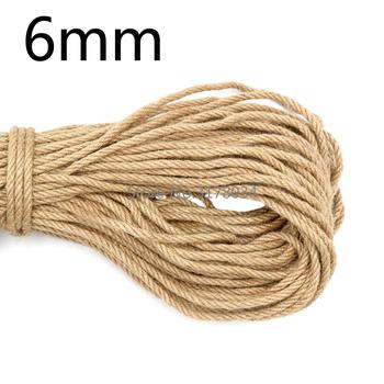 6mm 1m-50m naturalna juta lina Heavy Duty sznurek konopny skręcony przewód sznurek makrame DIY Craft ręcznie wykonana dekoracja Pet drapanie tanie i dobre opinie SEWCUTE 100 konopi TWISTED Ekologiczne Wysoka wytrzymałość na rozciąganie 1-100m Jute Powlekane Tekstylia domowe ROUND