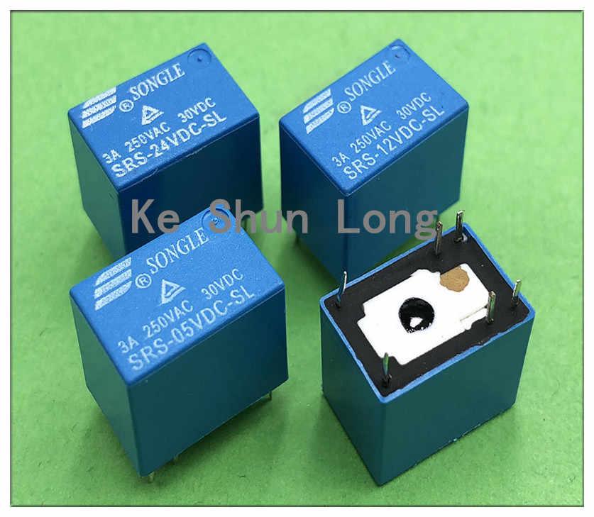 Asli Baru SONGLE SRS-5VDC-SL SRS-05VDC-SL SRS-12VDC-SL SRS-24VDC-SL 6 Pin 3A 5VDC 12VDC 24VDC Sinyal Relay