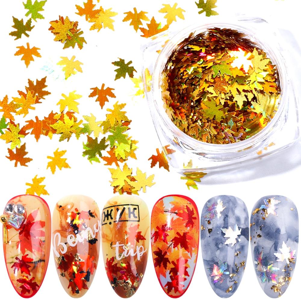 """1 коробка кленовые листья дизайн ногтей голографические блестки наклейки """"хамелеон"""" для ногтей осенний дизайн Декор SA1528"""