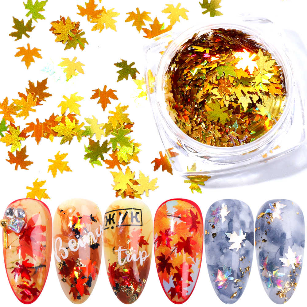1 kutu akçaağaç yaprakları tırnak sanat pul holografik Glitter pul madeni pul bukalemun çıkartmalar çivi için sonbahar tasarım dekor SA1528