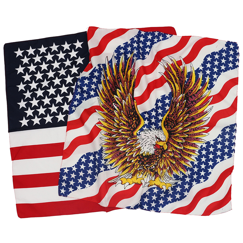 Polyester American Flag Eagle Bandanas Men Hiphop Headband Women Neckerchief Headwear Handkerchief