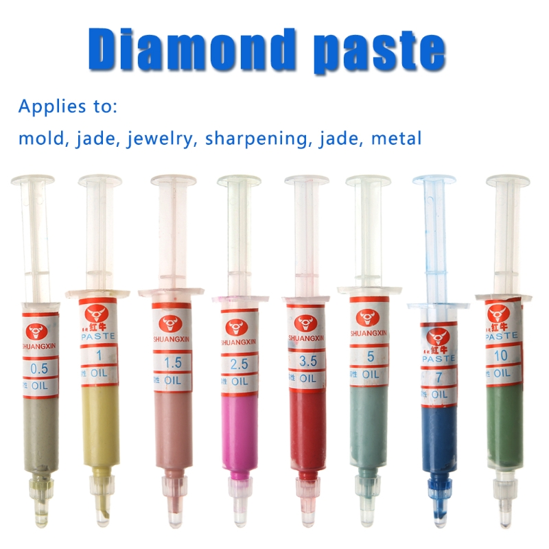 8Pcs Diamond Polishing Lapping Pastes Compound Syringes Set 0.5-10 Micron Tools