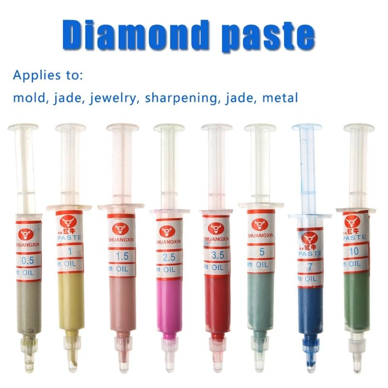 BIlinli 8Pcs Diamant Polieren L/äpppasten Compound Spritzen Set 0,5-10 Mikron Werkzeuge