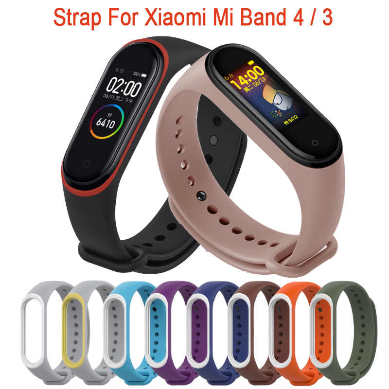 For Xiaomi Mi Band 4 Strap Silicone Wrist Strap For Xiaomi Mi Band 4 Accessories Bracelet Miband 4 Replacement Dual Color Straps