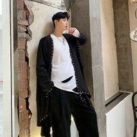 Men Outerwear Loose Irregular Ribbon Rivet Long Cardigan Windbreaker Coat Male Japan Streetwear Punk Gothic Trench Jacket