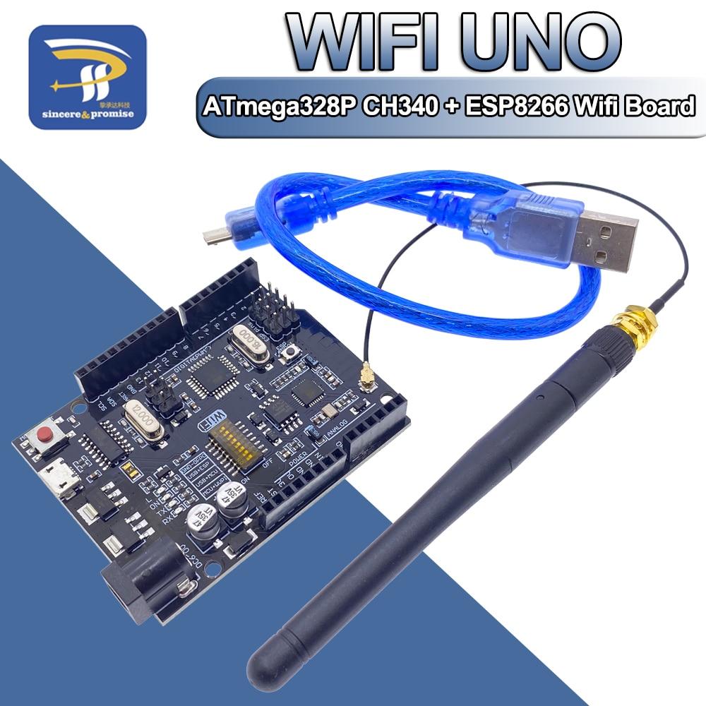 UNO + Wi-Fi, R3 ATmega328P + ESP8266 CH340 (32Мб оперативной памяти) 6-9V USB-TTL CH340G для Arduino NodeMCU WeMos один макетная плата