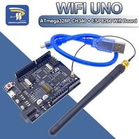 UNO + WiFi R3 ATmega328P + ESP8266 CH340 (32Mb speicher) 6V-9V USB-TTL CH340G Für Arduino NodeMCU WeMos Eine Entwicklung bord