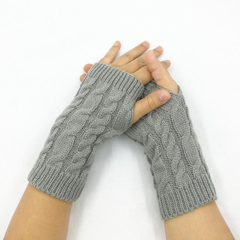 Women Solid Color Fingerless Gloves Knitted Crochet Thumb Hole Arm Warmer Gloves Black White Grey Soft Warm Mitten нарукавники