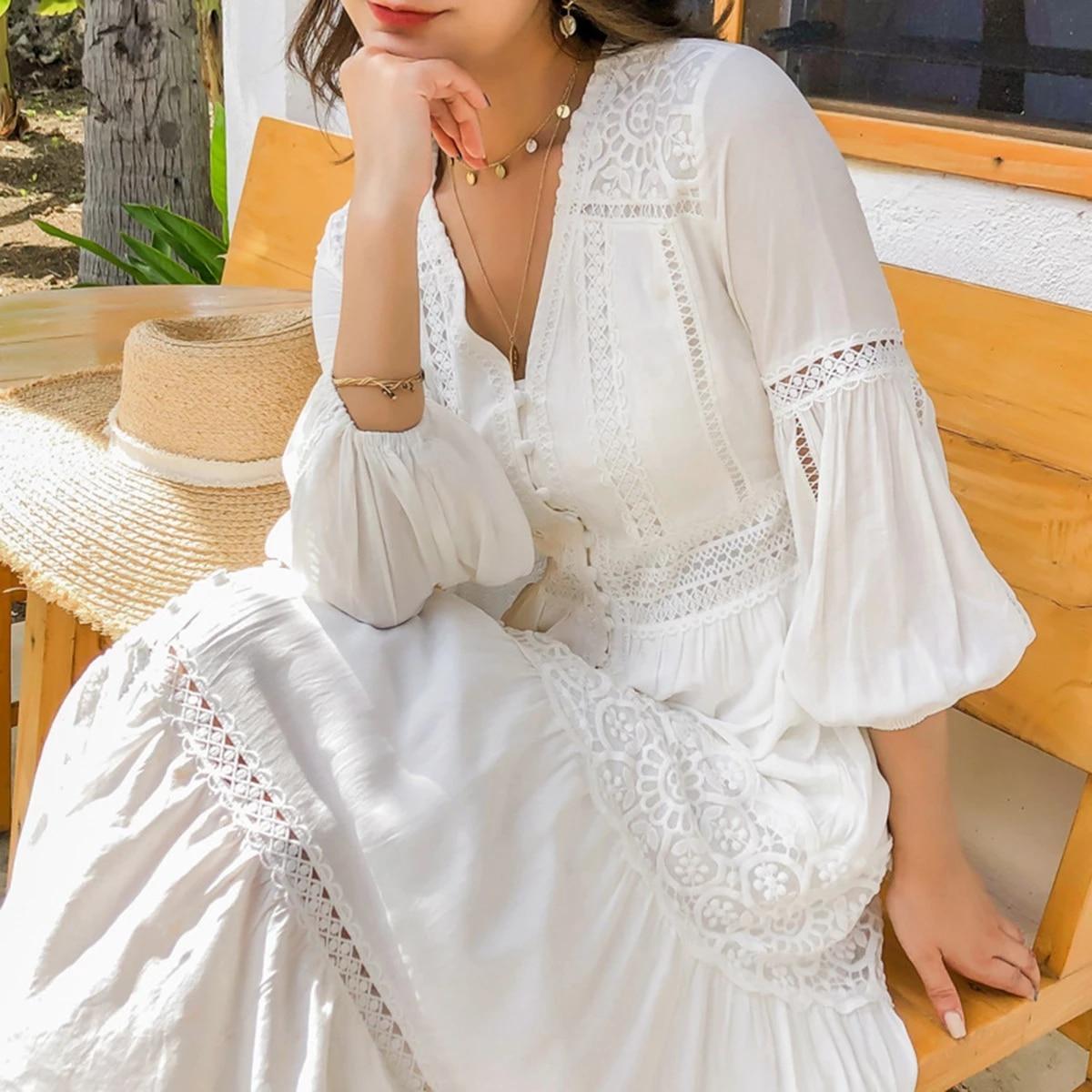 boho inspiriert weiß lange frauen kleid baumwolle v-ausschnitt langarm  sommer kleid 2020 neue tasten damen kleider chic maxi kleid