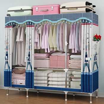 Wardrobe simple cloth wardrobe steel pipe bold reinforcement Double household thickening all steel frame economical simple