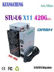 شحن مجاني StrongU مينر STU-U6 420 جرام x11 Asic مينر داشكوين آلة استخراج المعادن مع PSU أفضل من Antminer D5 Baikal G28 X7