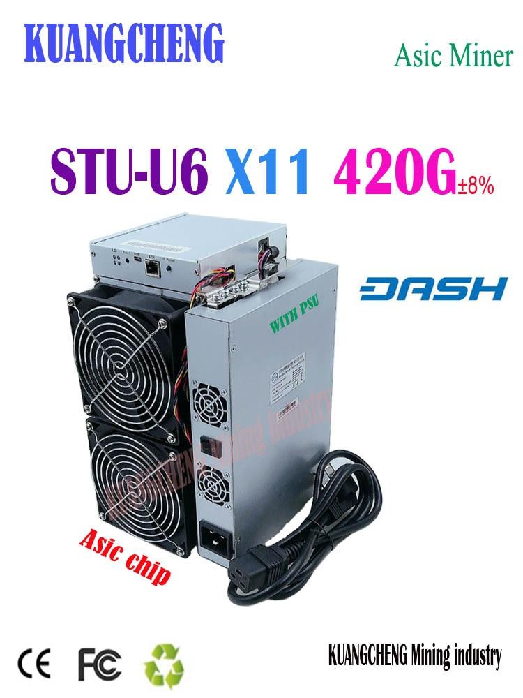 Envío Gratis minero StrongU STU-U6 420G x11 máquina minera Asic Dashcoin con PSU mejor que Antminer D5 Baikal G28 X7
