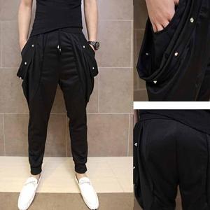 Image 2 - Erkekler gece kulübü şarkıcı hip hop punk harem pantolon bırak crotch dökümlü pantolon erkek elastik dar pantolon sahne kostüm joggers