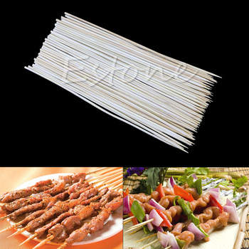 90X 20cm Kabob Skewers Stick Bamboo Grill BBQ Fruit Chocolate Shish Cook Fondue image