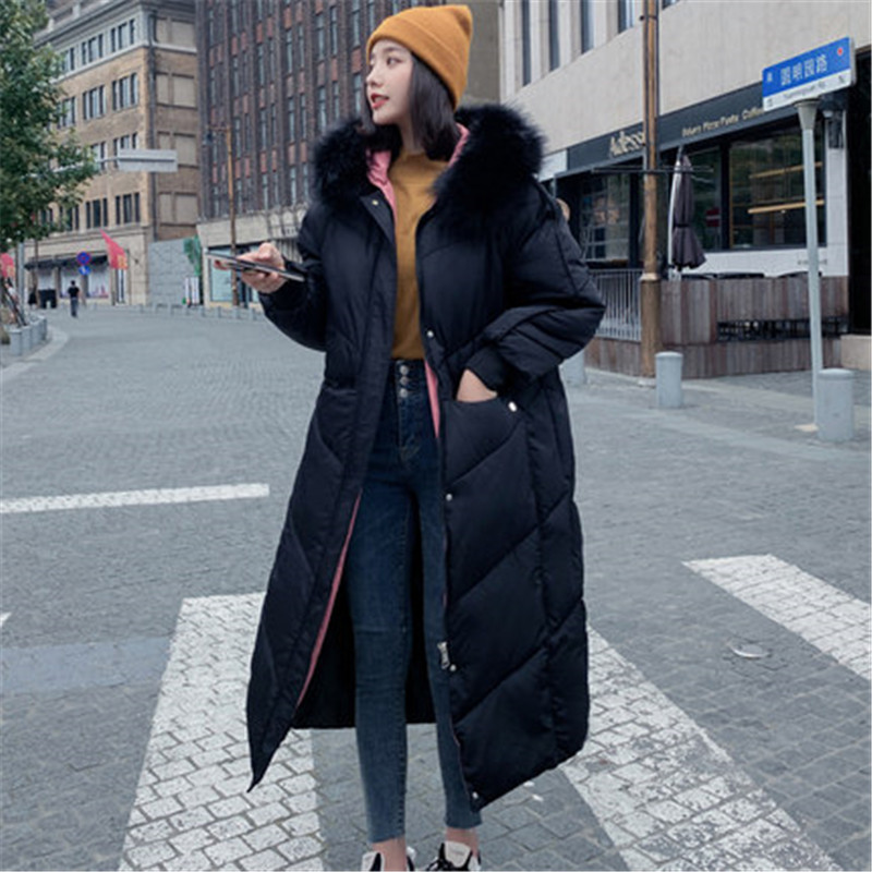 2019 New Fashion Winter Coat Women Long Thickened Warm Hooded Fur Collar Down Jacket Winter Long   Parka   Coats Outerwear V1001