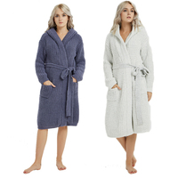 Winter Warm Bathrobe Women Nightgown Knee Length Hooded Bath Robe Soft Thick Bridesmaid Robe Female Dressing Gown Sleepwear