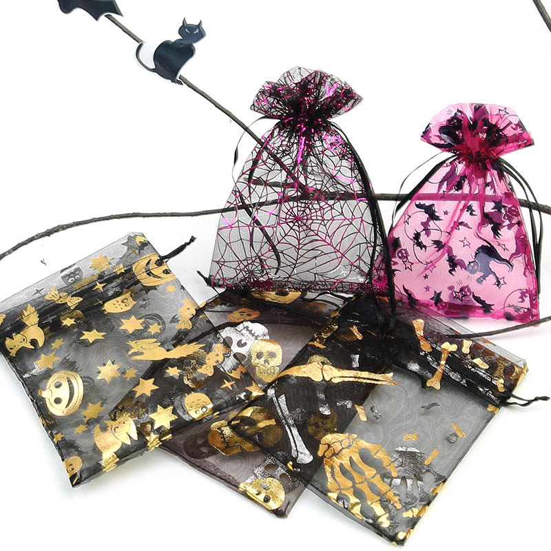 50Pcs Organza Bundle Pocket Creative Spider Bat Pumpkin Hot Stamping Halloween Gift Bag Party Decoration Candy Bag 13 * 18Cm