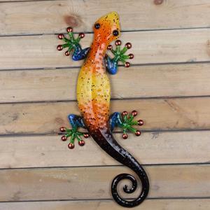 Image 5 - Metalowy gekon dekoracja ścienna zwierzęta zewnętrzne do dekoracji ogrodu posągi i miniaturowe akcesoria ogrodowe rzeźby