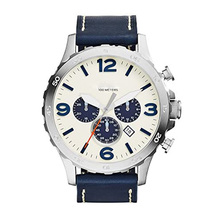 Fossil Men's Nate Stainless Steel Chronograph Watch with Navy Leather Band mens watches top brand luxury JR1480 fossil chase timer chronograph wristwatch mens with stainless steel mens watches top brand luxury fs5542p