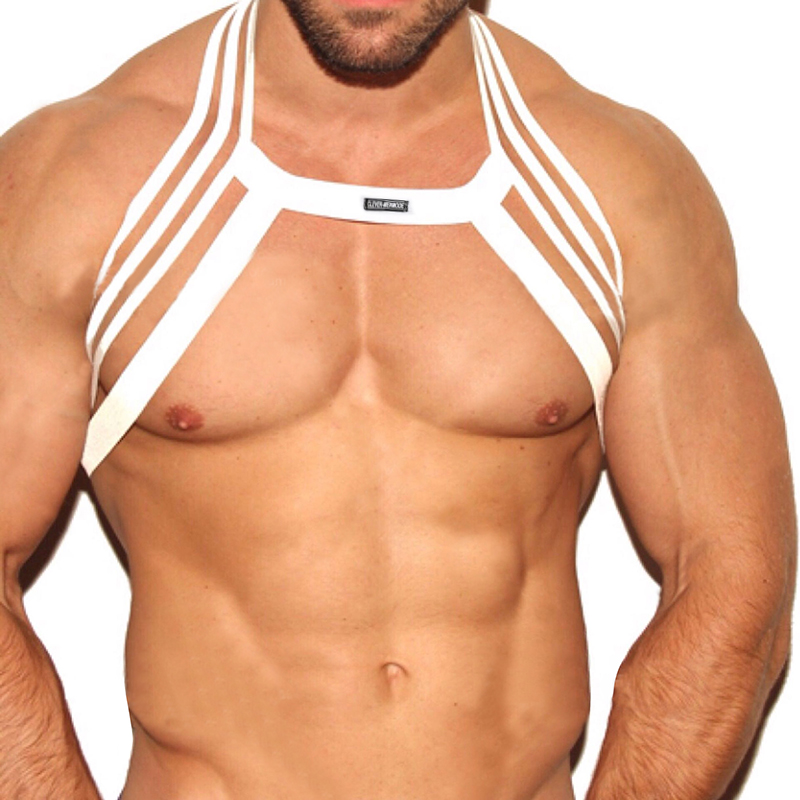 Men Halter Neck Nightclub Performance Lingerie Body Chest Harness Bondage Costume Party Hollow Out Elastic Clothing Super Hot