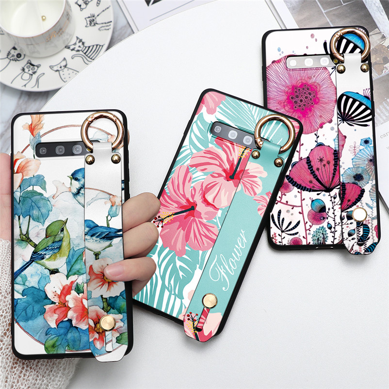 Flower Wrist Strap Holder Funda For <font><b>Samsung</b></font> Galaxy J3 J5 J2 J7 Prime A3 A5 <font><b>2016</b></font> 2017 J4 J6 A6 A8 Plus J8 A7 <font><b>A9</b></font> 2018 Silicon Case image